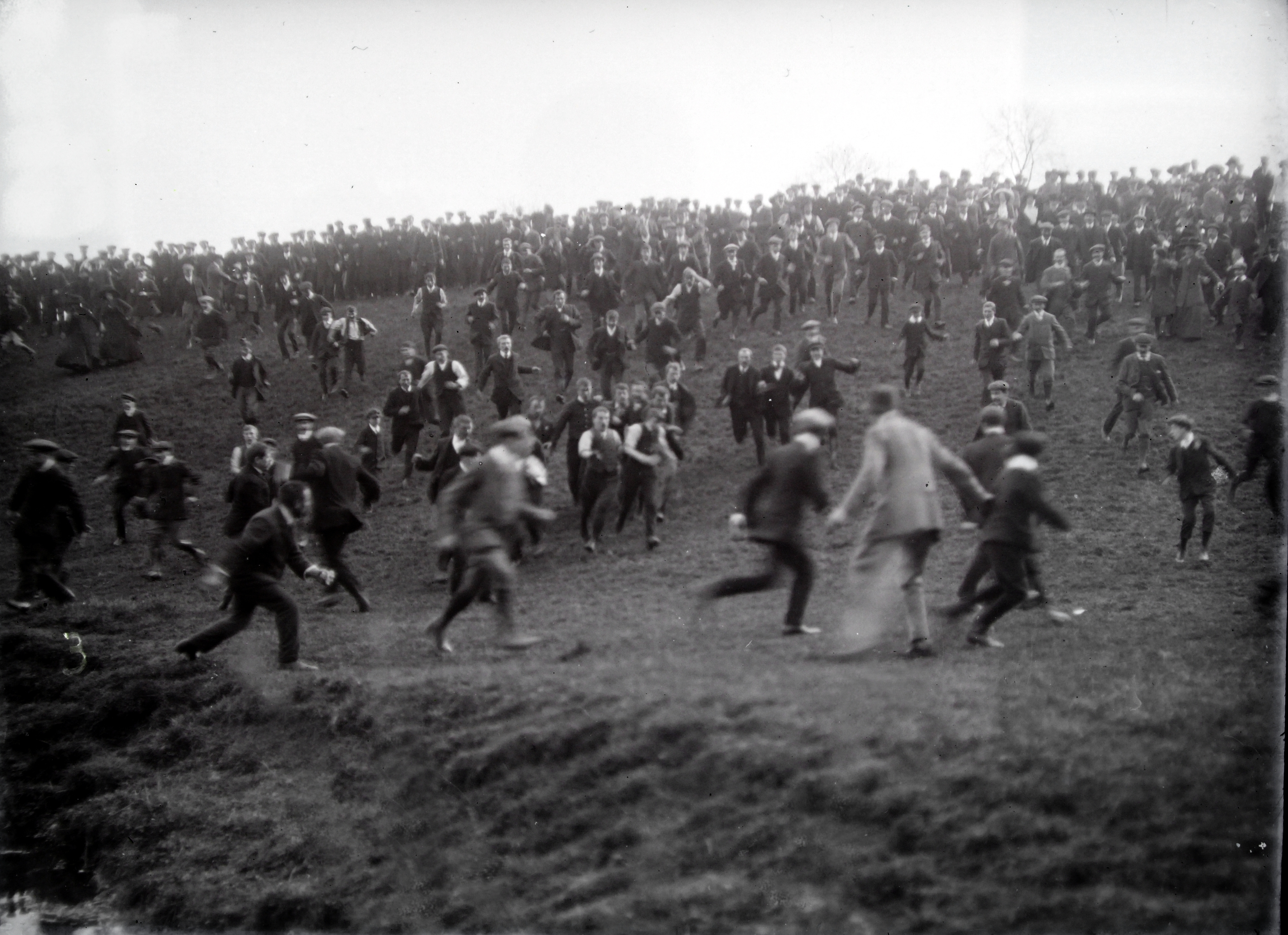 A historic picture of the Hallaton Bottle Kicking