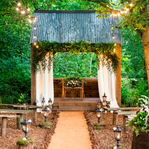 The hideaway dressed for a wedding at Hothorpe Venues