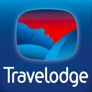 The logo of the Travelodge Hotel chain