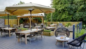 The relaxed outdoor seating area at Ullesthorpe Court Hotel