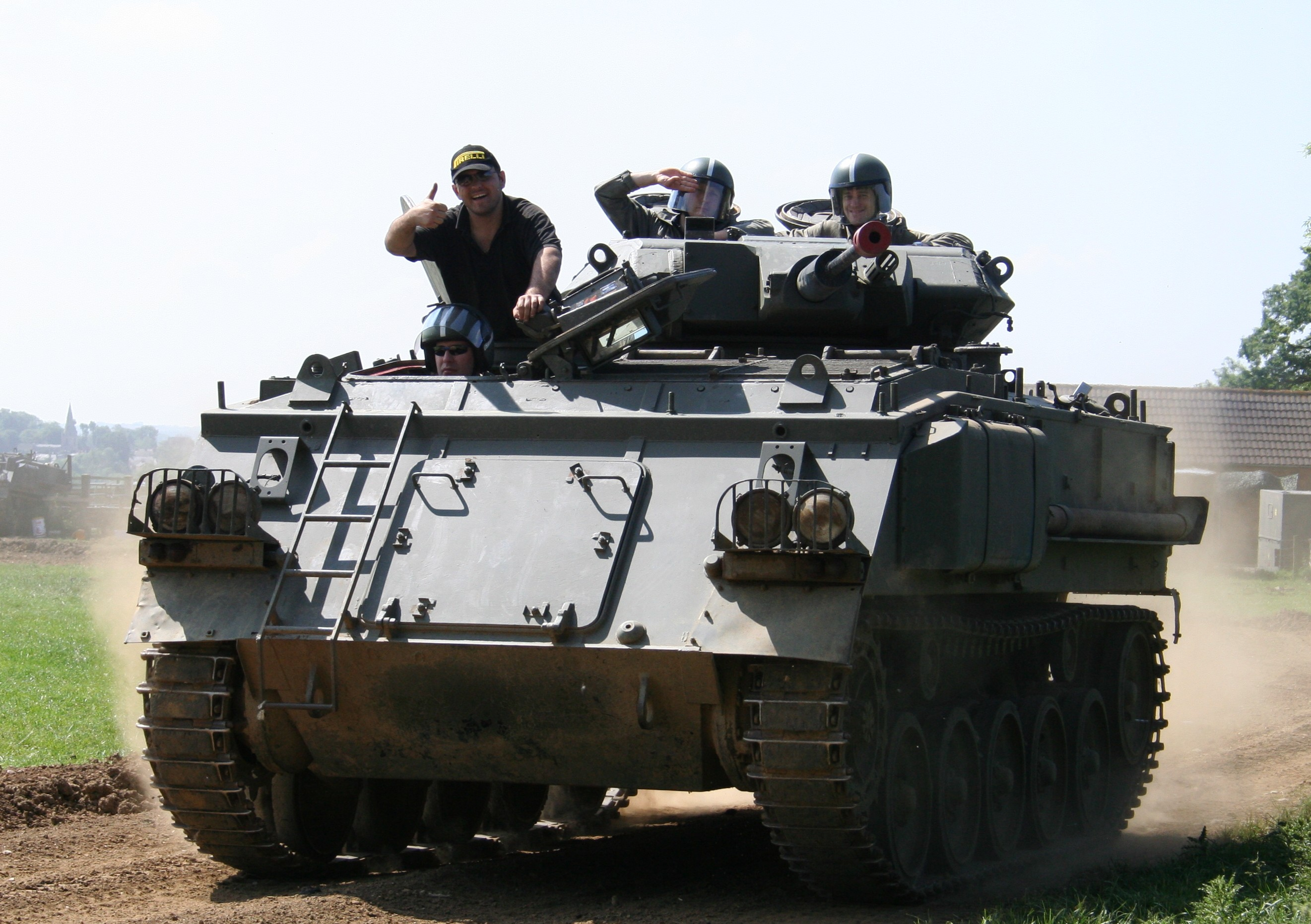 Customer enjoying tank driving at Armourgeddon