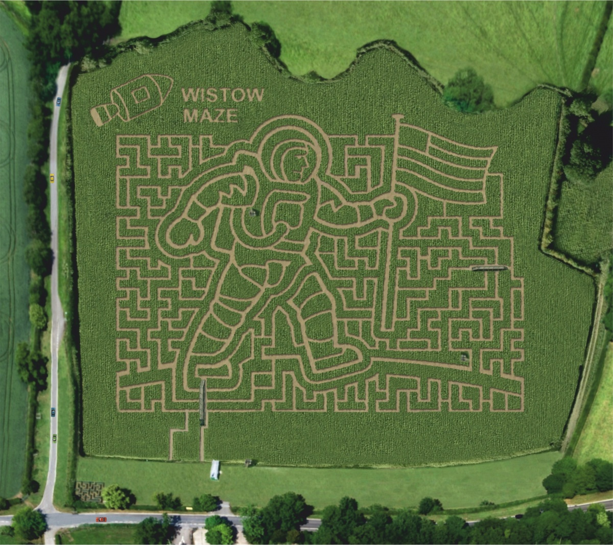 The aerial view of the moon landing pattern maze at Wistow Maze