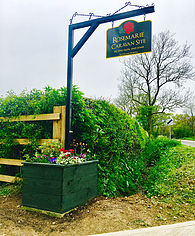 The entrance sign to the Rosemarie Caravan site