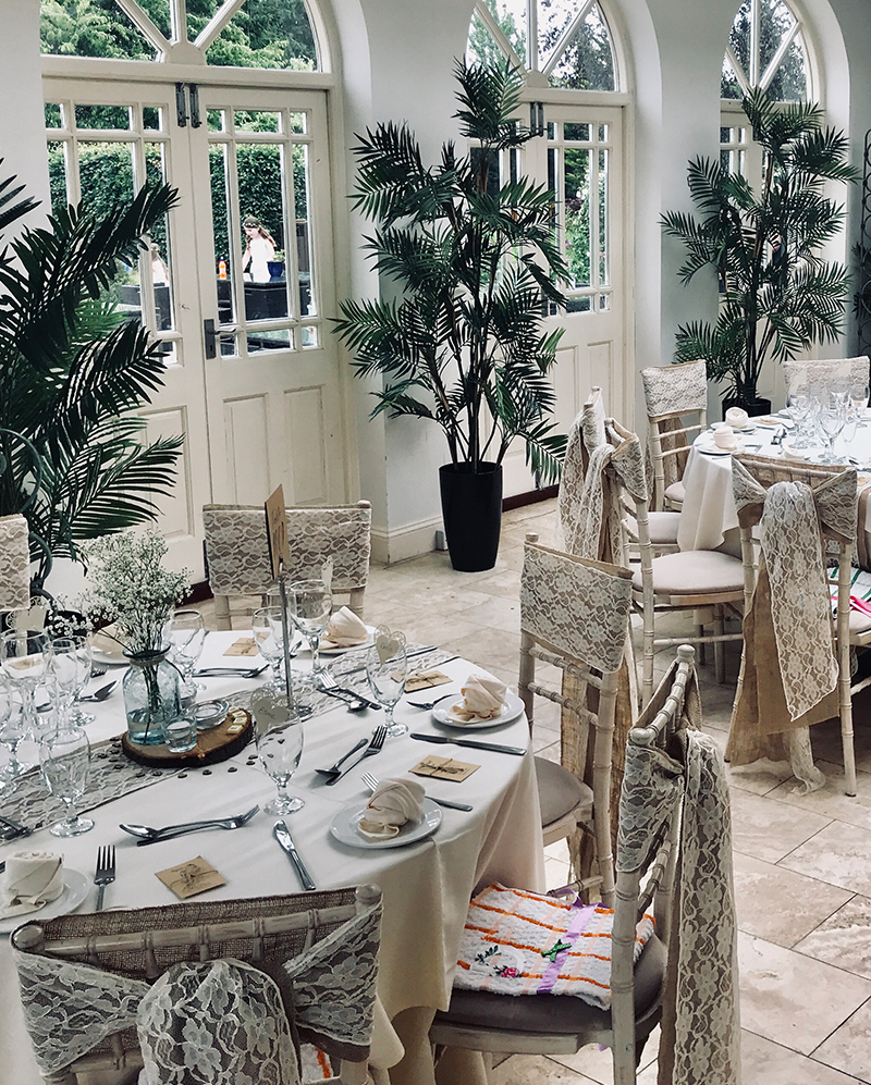 The inside of Shearsby Bath dressed for a wedding reception