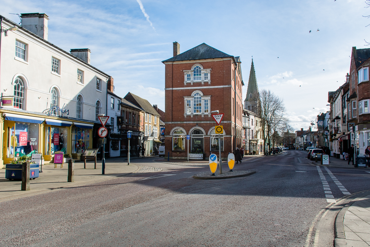The view down Market Harborough High Street