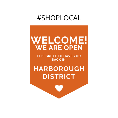 Graphic to welcome visitors back to the Harborough district