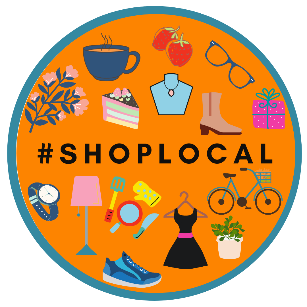 A circle logo to promote the Shop Local campaign