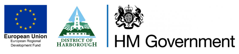 The logos of the three organisation involved in funding and organising the Town Centre Recovery Fund in the Harborough district.